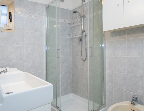 A shower box with transparent panels