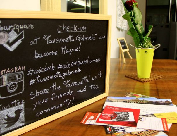 A little blackboard on a table with social references